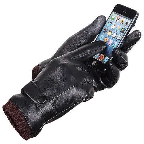 1078454bbf98 LAOWWO Uomini Touchscreen Texting Inverno nero PU Guanti in ecopelle con  fodera in pelle scamosciata lunga