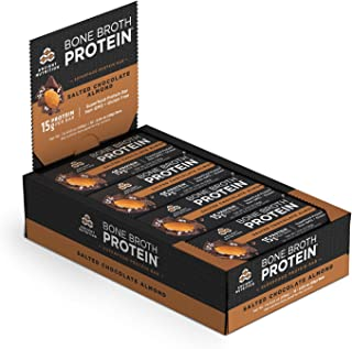 Ancient Nutrition Bone Broth Protein Bars, Salted Chocolate Almond, Dairy Free, Gluten Free, Naturally Flavored Snack Bar, 16g Protein, 12 Count Pack