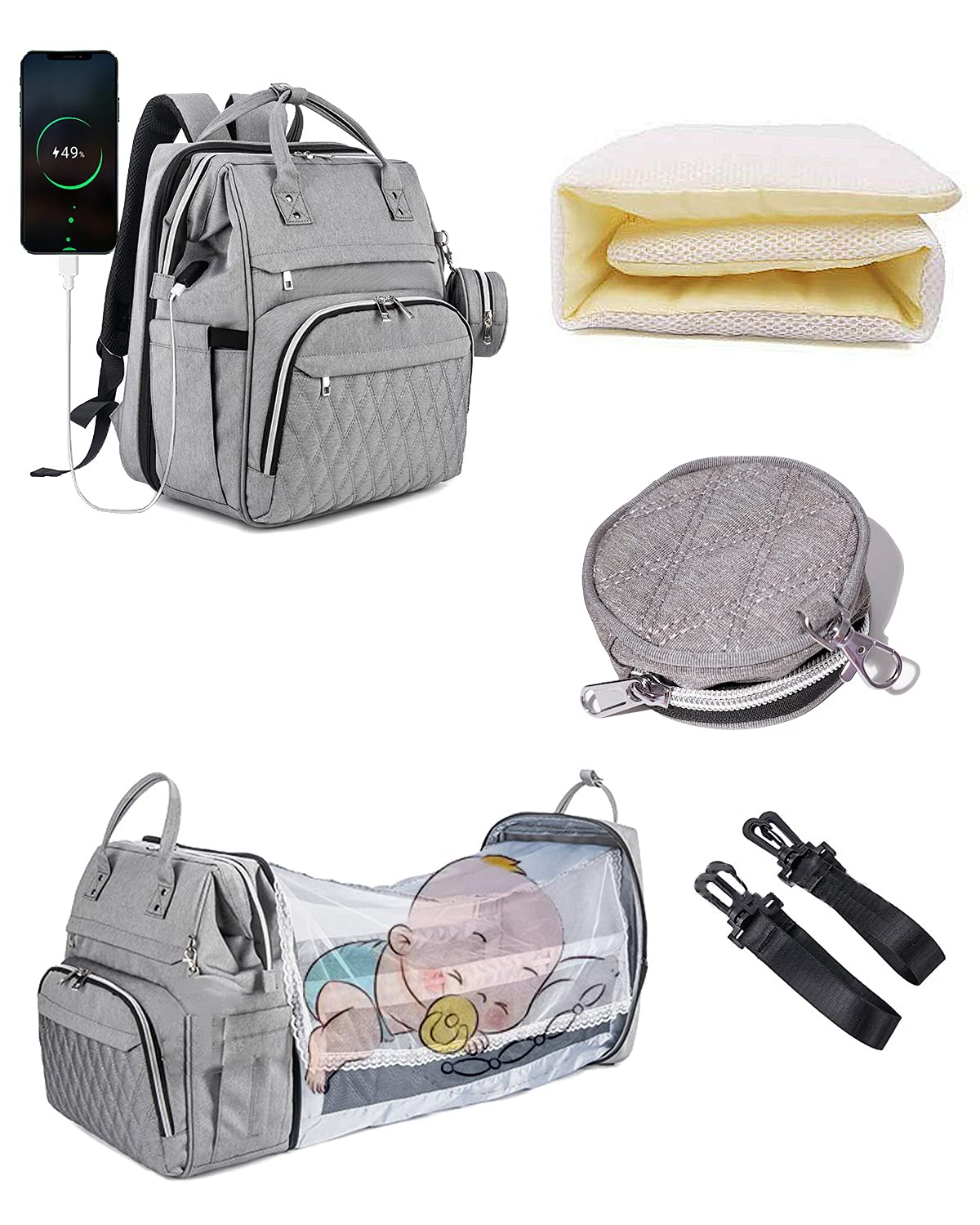 4 in1 Diaper Bag Backpack with Folding Crib,Diapers Changing Station with Sunshade Mosquito Net,Portable Mummy Bag Large Capacity Diaper Bag Foldable Baby Bed, Multifunctional Baby Organizer