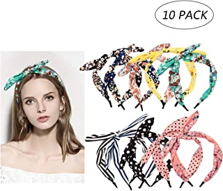 10 Colors Hair Band,Colorful Floral Assorted Bow Tie Hair Hoop Polka Dot Boho Stripe Bow Hairband Accessories for Women Girls