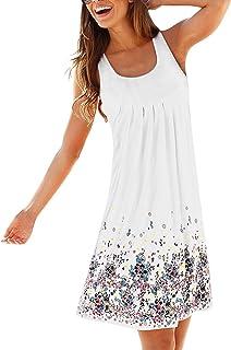 AELSON Womens Summer Casual Sleeveless Mini Printed Vest Dresses 720b9df3fb