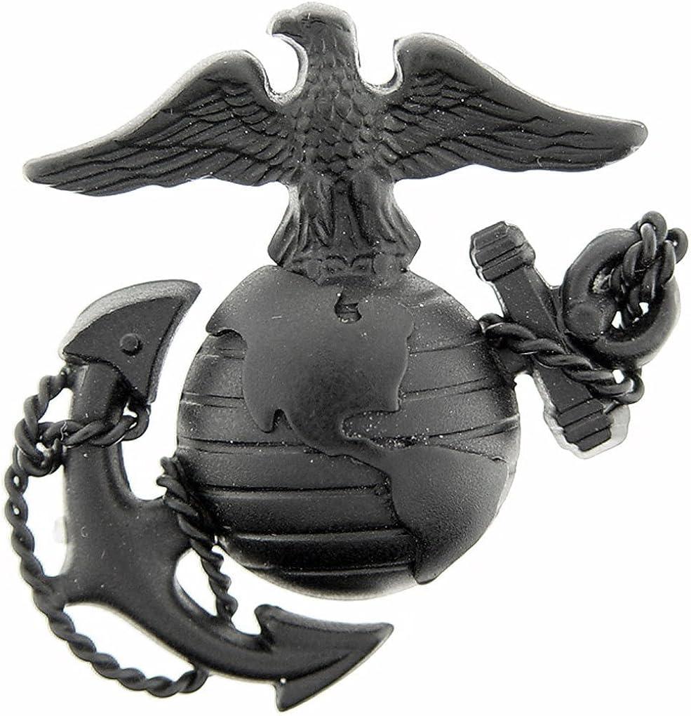 Eagle US Marine Corps Emblem E3 Left Cap Subdued Black USMC Lapel Hat Pin, 1-3/4