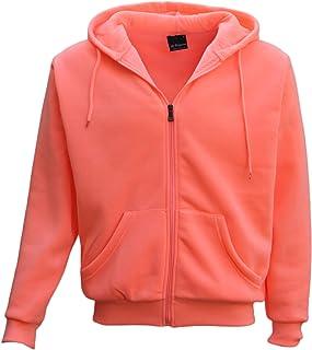 Adult Unisex Plain Fleece Hoodie Hooded Jacket Men's Zip Up Sweatshirt Jumper