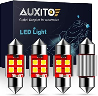 "AUXITO Extremely Bright CANBUS Error Free 4-SMD 3030 Chipset 31mm (1.25"") DE3175 DE3021 Festoon Xenon White LED Bulbs for ..."