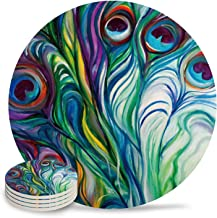 Chic D Absorbent Drink Coasters Peacock Feather, Funny Stone Ceramic Coasters Set with Cork Back Base Backing for Kinds of Mugs and Cups, Set of 4-Piece, Watercolor Art