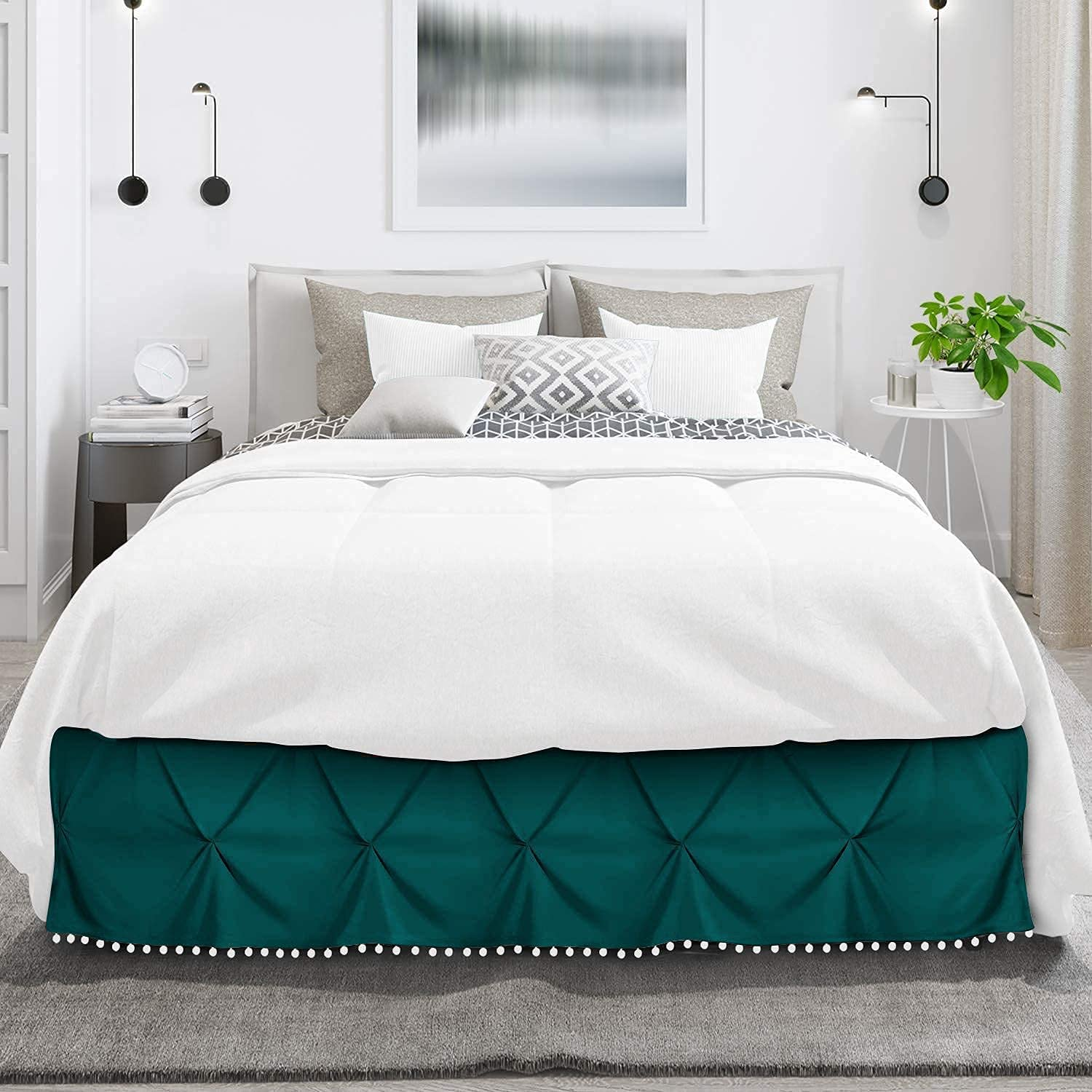 Idle Decor Pom Pinch Pleated 8 100% Egyptian Cotton All items free shipping Now free shipping BedSkirt