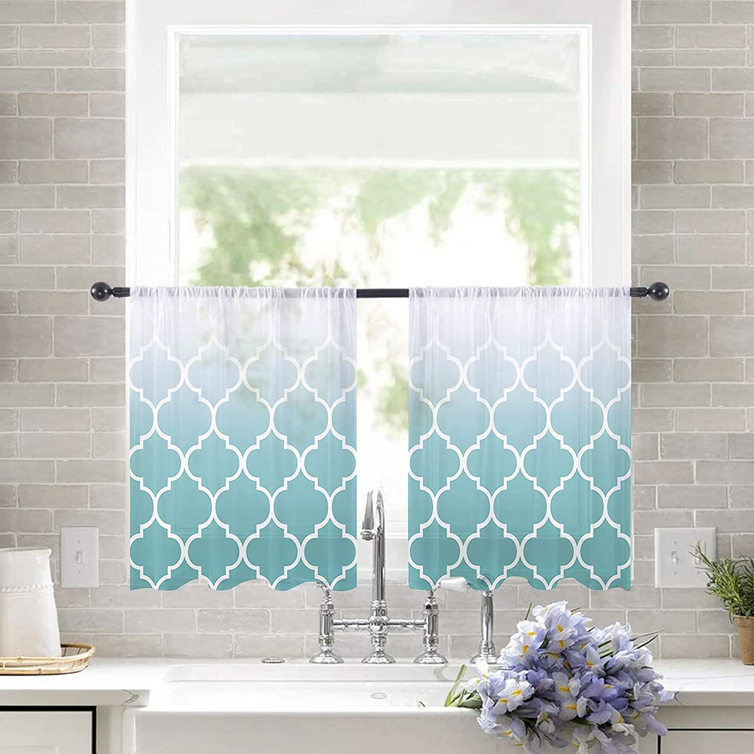 Sheer Curtains 54 Inches New life Long for Set Turqu Bedroom Panel Max 45% OFF 2 Cyan