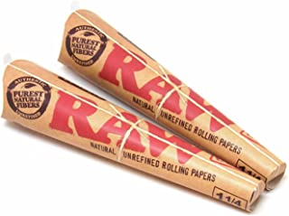 2 - Raw Natural pre rolled paper cones 6 Pack EA - 1 1/4 SIZE w/ Tip Bundle NEW