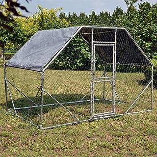 WilTec Jaula Recinto Corral XXL 2x3x2m con Techo Solar Impermeable y Puerta Animales Aves Gallinas Pollos