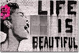 Wieco Art Banksy Life is Beautiful Giclee Artwork for Wall Decor Modern Seaview Canvas Wall Art for Home and Office Decora...
