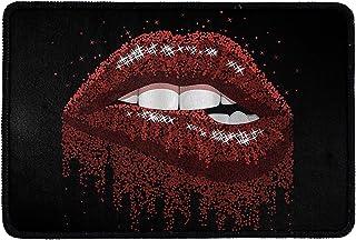 Pensura Home Welcome Mat,Red Lips Pattern with Front Doormat Door Rug for Indoor Outdoor Kitchen Bathroom Easy Clean