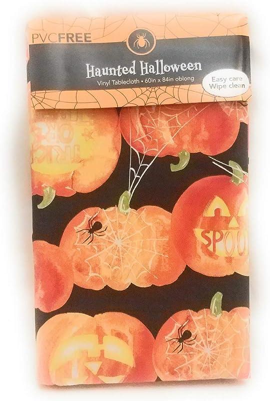 HnB Haunted Halloween Jack O Lantern PVC Free Vinyl Flannel Back Tablecloth 60 X 84 Oblong Black Orange Reusable Easy Clean