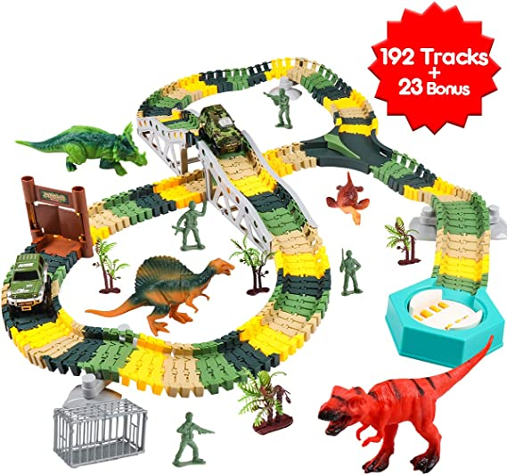 Meland Dinosaur Race Track Car Toy Set - 192pcs Flexible Trains Tracks + 23 Dinosaur Toys Accessories Playset Gifts for 3 4 5 6 7 8 Year Old Boys with 4 Dinosaurs