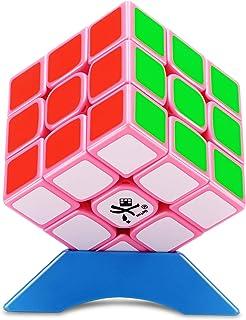 DaYan TengYun Magnetic Magic Cube 大雁 魔方 【磁石内蔵】マグネティック ブロック 立体パズル 競技専用 ポップ防止 高級者向け 収蔵版 スタンド付き プレゼント (【全球限定版-ピンク素体】)