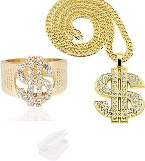 PPX 2 Pezzi Anelli e Collana con Simbolo del Dollaro con Scatola di Immagazzinaggio