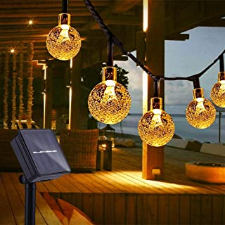Guirnaldas Luces Exterior Solar, TOGAVE Luces Navidad Guirnalda Solares con 50 LED Bombillas y Impermeable IP44 Cadena de Luces Decoración para Navidad, Jardín, Boda, Fiesta - Blanco Cálido
