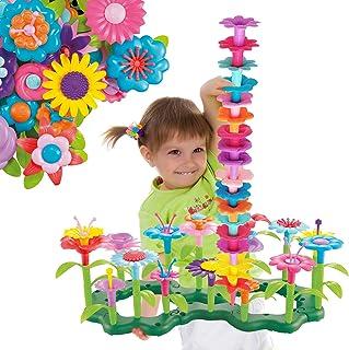ToyVelt Flower Garden Building Toys para niñas - (148 piezas) Conjunto de juego con arreglo floral de tallo, más un recipiente, juguete de flores para niños de 3, 4, 5, 6, 7 años