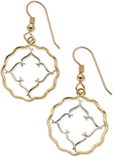 British India Coin Earrings, India Coin Hand Cut ,14 Karat Gold and Rhodium Plated