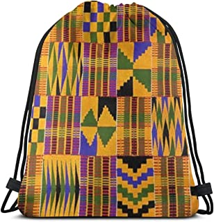 Ghana Kente Cloth Drawstring Backpack Bag Gym Dance Bags Gift for Girls Daughter Boy Bag Birthday Gift for Kids Teen 17 X 14 Inch