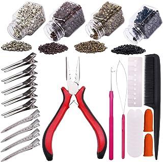 YMHPRIDE Kit de herramientas de extensión de cabello,1000 piezas de microanillos con revestimiento de silicona(4 color),al...