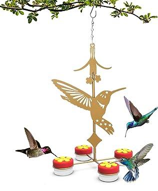 U-pick Hanging Hummingbird Feeders for Outdoors, Red Hand-held Hummingbird Feeder with Clean Brushes (Metal, Gold, Hummingbir