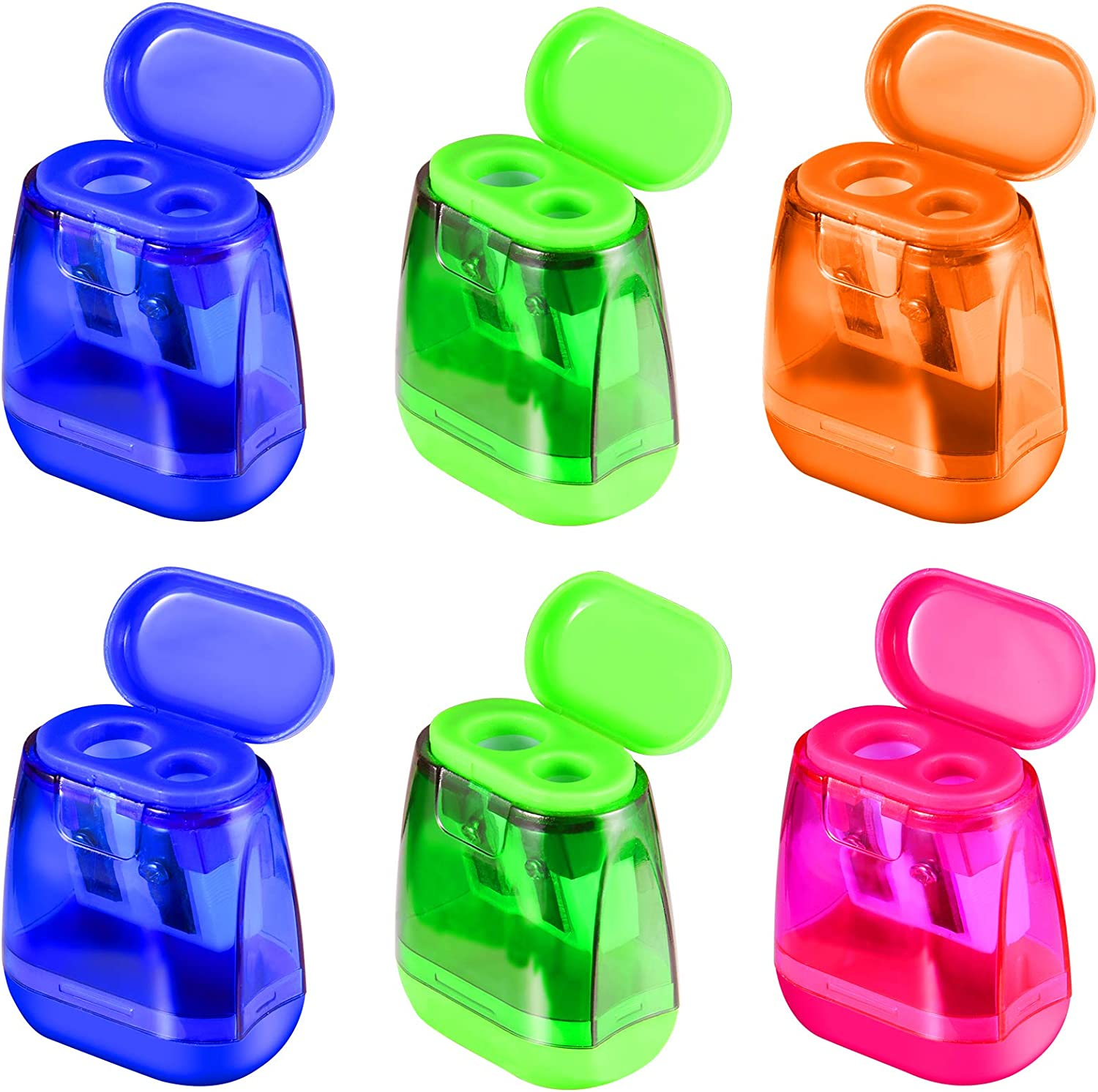 Manual Pencil Sharpeners 6PCS Popularity Dual Holes Lid with for Sharpener 100% quality warranty