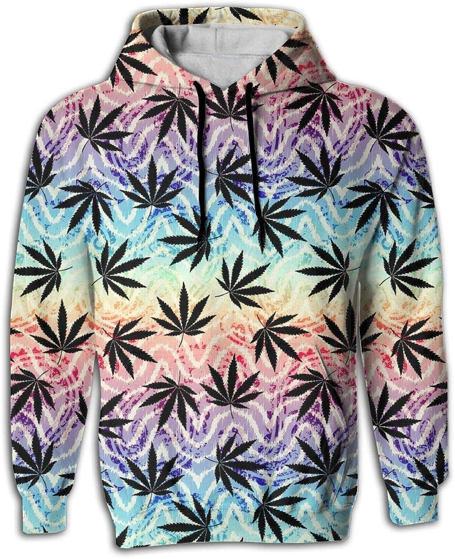 Wkylt Print Big Pockets Lightweight Grunge Cannabis Cure Hemp Leaves Sweatershirt