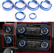 6pcs Aluminum Alloy Car Inner Air Conditioner & Trailer & 4WD Switch Knob Ring Cover Trim For Ford F150 XLT 2016 2017 (Blue Whole Set Knob Cover)