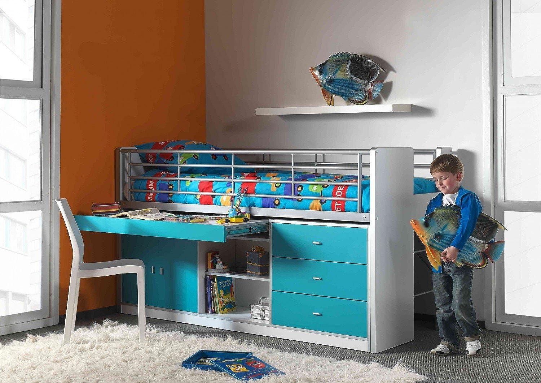 Vipack bohs9594Lit Mezzanine Bonny, Env. 207x 116x 98cm, Couchage 90x 200cm, 94, Blanc Turquoise