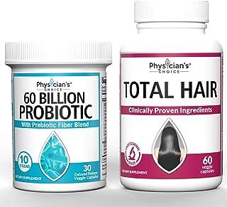Probiotics 60 Billion CFU & Hair Growth Vitamins Bundle | Hair Growth Vitamins with Clinically Proven Ingredients) Award W...
