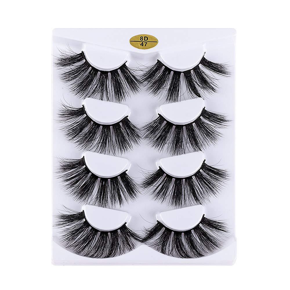 4 Pairs 8D 25mm Faux Mink False Fluf unisex Eyelashes Hair Topics on TV Crulty-free