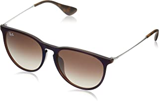 RAY-BAN RB4171F Erika Round Asian Fit Sunglasses, Transparent Brown Blue/Brown Gradient, Brown Gradient