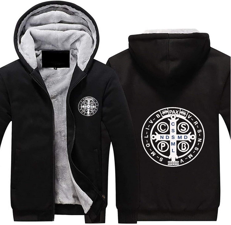 Saint Benedict Medal Men Hoodie Zipper Warmth Thickened Plus Fleece Jacket Black