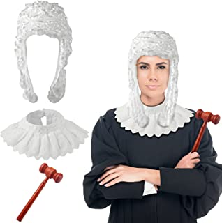 Sumind 3 Pieces Halloween Party Judge Cosplay Costume Accessories Retro Judge Wig Judge Lace Choker Blouse Collar Judge Wo...