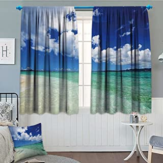 Strongger Ocean Thermal Insulating Blackout Curtain Island Sea Life Wavy Vivid Open Sunny Sea Shore Sand Beach Art Print Image Patterned Drape for Glass Door 72