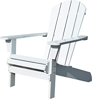 Northbeam Faux Wood Foldable Relaxed Adirondack Chair, Outdoor, Garden, Lawn, Deck Chair, White