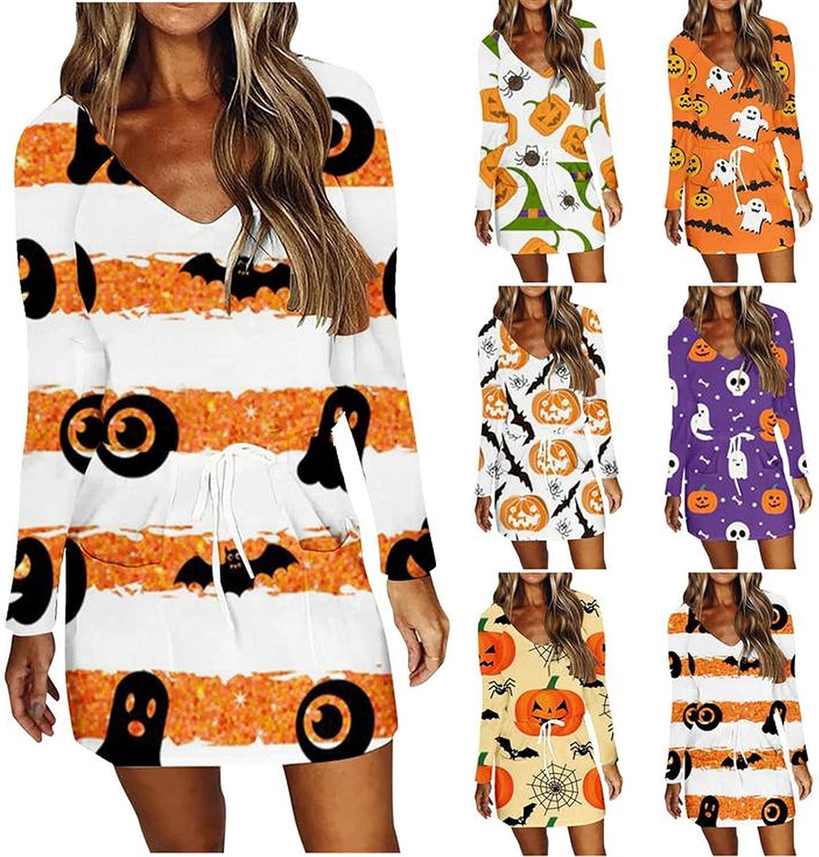 Halloween Dress for Women,Womens Casual Long Sleeve V Neck Swing Print Short Dress Loose Sun Dresses with Drawstring Pocket