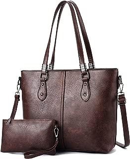 Women Tote Handbags and Purses 2pcs Set Multi-pockets Satchel Top Handle Bag