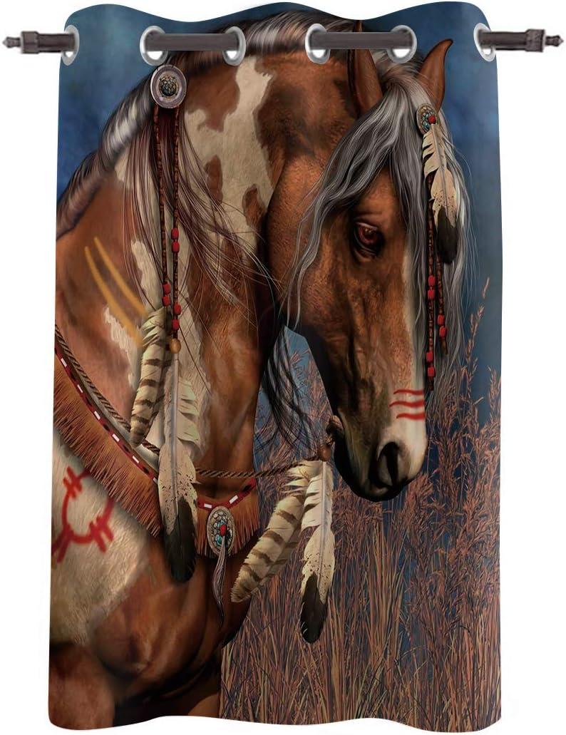 FAMILYDECOR Grommet Window Curtain Horse Dr Semi-Blackout 毎週更新 お気に入り Indian