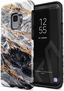 BURGA Phone Case Compatible with Samsung Galaxy S9 Black and Gold Marble Stone Cute for Girls Heavy Duty Shockproof Dual Layer Hard Shell + Silicone Protective Cover