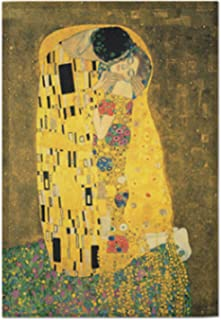 AbundanceHomeDesign The Kiss by Gustav Klimt/Printed on Premium Fabric Poster/Tapestry Wall Hanging for Wall Decor/Famous Painting Art Collection/S M L Sizes - Large-37.40