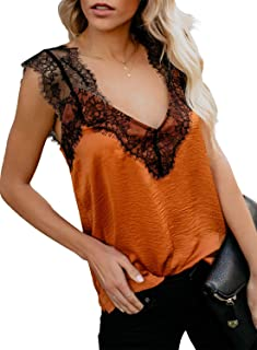 Women's Summer V Neck Strappy Cami Tank Tops Casual Loose Sleeveless Shirts Blouses