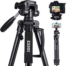 ESDDI - Trípode para cámara (66.9 in, ligero, portátil, para viaje, con soporte para teléfono y placa de liberación rápida para Canon, Nikon, Sony, Samsung, Olympus, con bolsa de transporte, capacidad de carga de 11 libras)