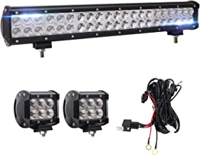 Bangbangche 20'' 126W Flood Spot Combo LED Light Bar, 10FT Fuse Relay On-Off Rock Switch Wiring Harness, 2X 18W Flood LED Pods Fog Lights, Waterproof Super Bright, Boat Truck 4X4 Jeep, 1 Year Warranty