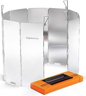 Alpinista 防風板 ウインドスクリーン 折り畳み式 アルミ製 10枚 7点セット ペグ4本ハードケース日本語説明書付
