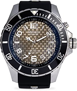 KYBOE! Power Stainless Steel Quartz Watch with Silicone Strap, Black, 26 (Model: KY.55-002.15)