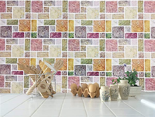 Wall Tile Stickers 10 Pack Peel And Stick Tile Vinyl Kitchen Backsplash Wall Stickers 22cm X 22cm Colorful Marble