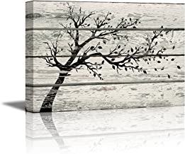 wall26 - Canvas Prints Wall Art - Artistic Tree with Leaves in Black and White on Vintage Wood Background Rustic Home Decoration - 16