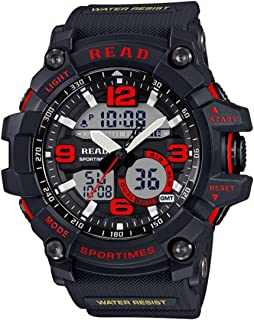 Songlin@yuan  Read R90001 30m Waterproof Luminous and Alarm and Date and Week Display Function Quartz Sports Men's Sports Watch with Rubber Band Fashion (Color : Red)