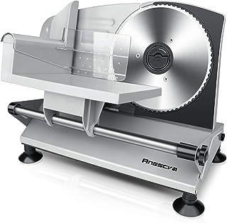 Anescra Trancheuse Électrique avec lame en acier inoxydable de 170 mm, épaisseur réglable de 0-15mm, design amovible, Tran...